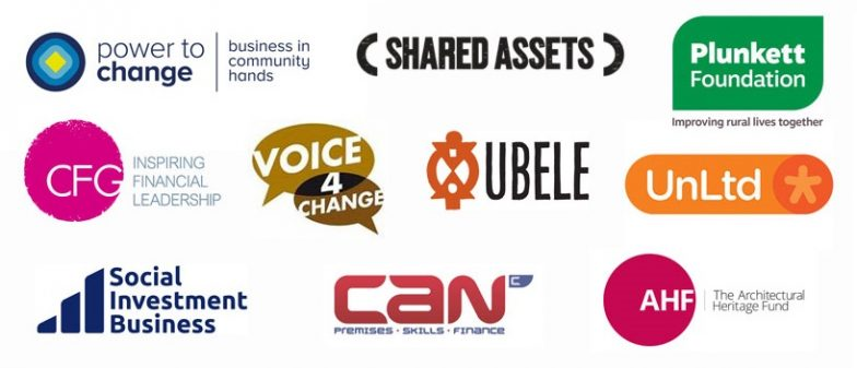 Image shows the logos of the following organisations: Power to Change, Shared Assets, Plunkett Foundation, CFG, Voice 4 Change, UBELE, UnLtd, Social Investment Business, CAN, AHF