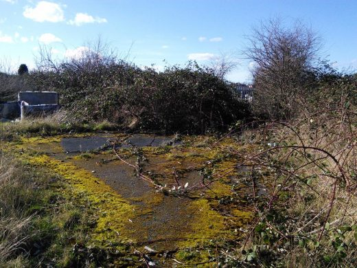 Patch of derelict land before the development in Saffron Lane