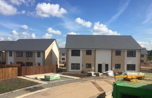 Image of one of the finsihed eco houses in Saffron Lane that has been built to Passivhaus standards