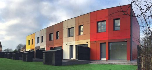 Colourful red, bronze, and yellow pre fab homes at the Great Thornton Estate, Hull