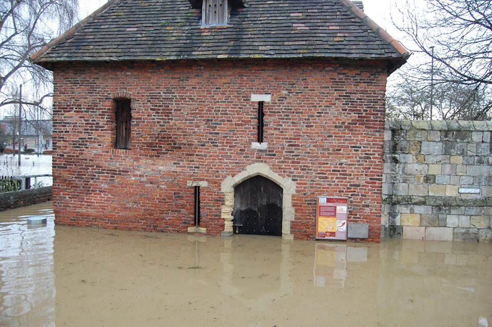 The Red Tower, flooded in 2015. The water has risen to waist height.