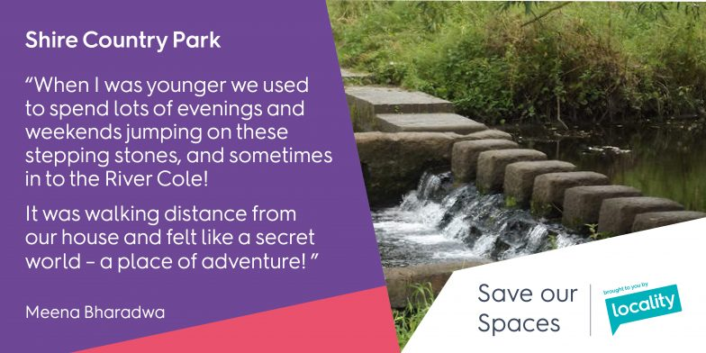 "Shire Country Park - ""When I was younger we used to spend lots of evenings and weekends jumping on these stepping stones, and sometimes into the River Cole! It was walking distance from our house and felt like a secret world - a place of adventure!"" - Meena"