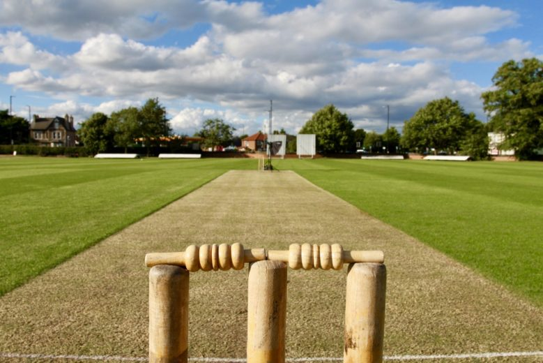 Wickets and the rest of the cricket field in the background on a sunny day