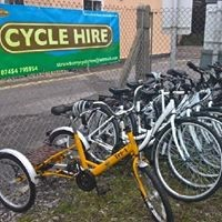 Bikes in a fanced area with a sign saying Cycle hire