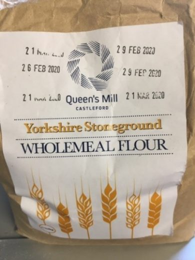 A bag of Yorkshire Stoneground wholemeal flour