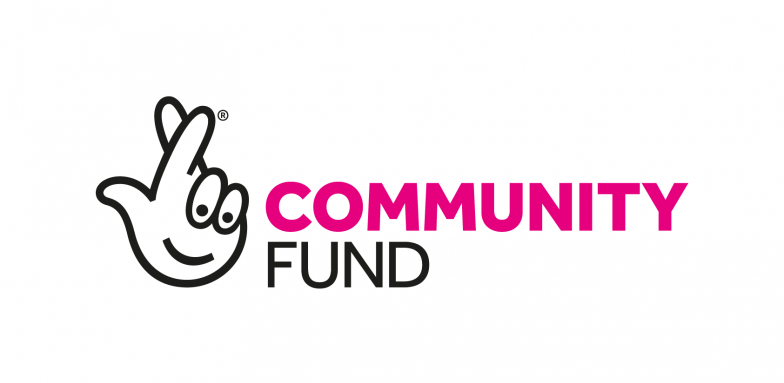 National Lottery Community Fund logo: a hand with crossed fingers with a smile on the palm and the text COMMUNITY FUND